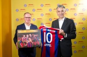 DHL und FC Bayern München mit neuer Partnerschaft. Copyright: Deutsche Post AG. Die Dateien dürfen kostenfrei verwendet werden, als Quelle geben Sie bitte Deutsche Post AG an. Die Dateien dürfen nicht verfremdet oder sinnverändernd eingesetzt werden.